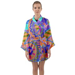 Pop Art Paisley Flowers Ornaments Multicolored 3 Long Sleeve Kimono Robe