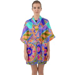 Pop Art Paisley Flowers Ornaments Multicolored 3 Quarter Sleeve Kimono Robe
