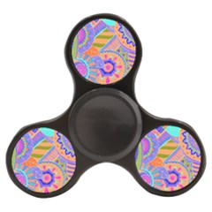 Pop Art Paisley Flowers Ornaments Multicolored 3 Finger Spinner