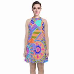 Pop Art Paisley Flowers Ornaments Multicolored 3 Velvet Halter Neckline Dress