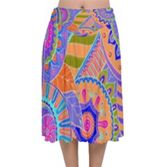 Pop Art Paisley Flowers Ornaments Multicolored 3 Velvet Flared Midi Skirt