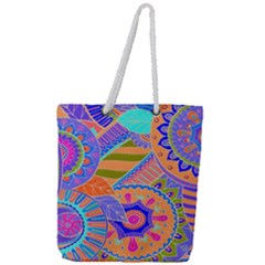 Pop Art Paisley Flowers Ornaments Multicolored 3 Full Print Rope Handle Tote (large)