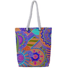 Pop Art Paisley Flowers Ornaments Multicolored 3 Full Print Rope Handle Tote (small)