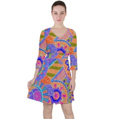 Pop Art Paisley Flowers Ornaments Multicolored 3 Ruffle Dress