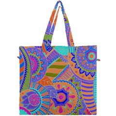 Pop Art Paisley Flowers Ornaments Multicolored 3 Canvas Travel Bag
