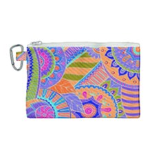 Pop Art Paisley Flowers Ornaments Multicolored 3 Canvas Cosmetic Bag (medium)