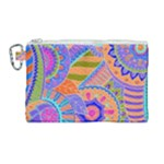 Pop Art Paisley Flowers Ornaments Multicolored 3 Canvas Cosmetic Bag (Large)