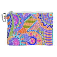 Pop Art Paisley Flowers Ornaments Multicolored 3 Canvas Cosmetic Bag (xl) by EDDArt
