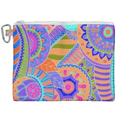 Pop Art Paisley Flowers Ornaments Multicolored 3 Canvas Cosmetic Bag (xxl)