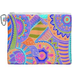 Pop Art Paisley Flowers Ornaments Multicolored 3 Canvas Cosmetic Bag (xxxl)