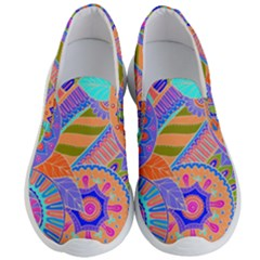 Pop Art Paisley Flowers Ornaments Multicolored 3 Men s Lightweight Slip Ons