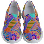 Pop Art Paisley Flowers Ornaments Multicolored 3 Kid s Lightweight Slip Ons