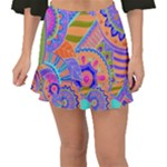 Pop Art Paisley Flowers Ornaments Multicolored 3 Fishtail Mini Chiffon Skirt