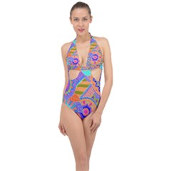 Pop Art Paisley Flowers Ornaments Multicolored 3 Halter Front Plunge Swimsuit