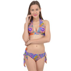 Pop Art Paisley Flowers Ornaments Multicolored 3 Tie It Up Bikini Set