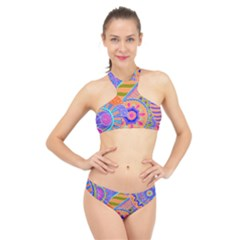 Pop Art Paisley Flowers Ornaments Multicolored 3 High Neck Bikini Set
