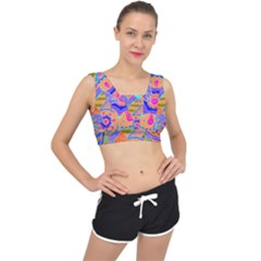 Pop Art Paisley Flowers Ornaments Multicolored 3 V Back Sports Bra