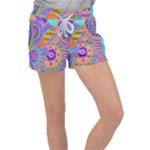 Pop Art Paisley Flowers Ornaments Multicolored 3 Women s Velour Lounge Shorts