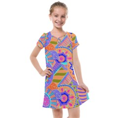 Pop Art Paisley Flowers Ornaments Multicolored 3 Kids  Cross Web Dress