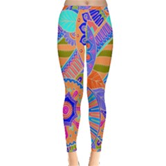 Pop Art Paisley Flowers Ornaments Multicolored 3 Inside Out Leggings