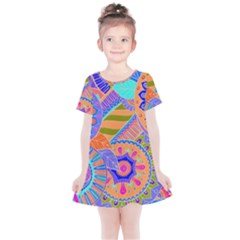 Pop Art Paisley Flowers Ornaments Multicolored 3 Kids  Simple Cotton Dress