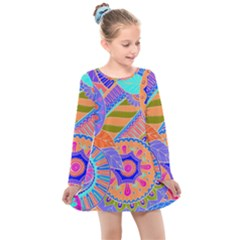 Pop Art Paisley Flowers Ornaments Multicolored 3 Kids  Long Sleeve Dress