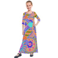 Pop Art Paisley Flowers Ornaments Multicolored 3 Kids  Quarter Sleeve Maxi Dress