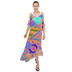 Pop Art Paisley Flowers Ornaments Multicolored 3 Maxi Chiffon Cover Up Dress