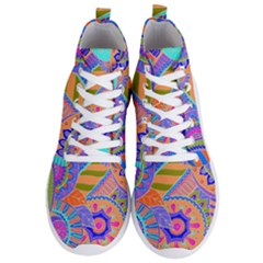 Pop Art Paisley Flowers Ornaments Multicolored 3 Men s Lightweight High Top Sneakers