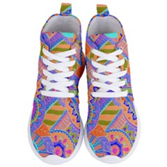 Pop Art Paisley Flowers Ornaments Multicolored 3 Women s Lightweight High Top Sneakers