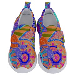 Pop Art Paisley Flowers Ornaments Multicolored 3 Velcro Strap Shoes