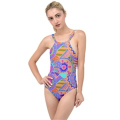 Pop Art Paisley Flowers Ornaments Multicolored 3 High Neck One Piece Swimsuit