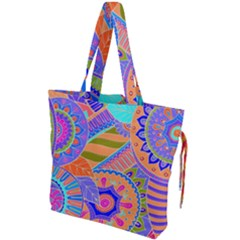 Pop Art Paisley Flowers Ornaments Multicolored 3 Drawstring Tote Bag by EDDArt