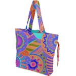 Pop Art Paisley Flowers Ornaments Multicolored 3 Drawstring Tote Bag
