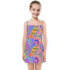 Pop Art Paisley Flowers Ornaments Multicolored 3 Kids Summer Sun Dress