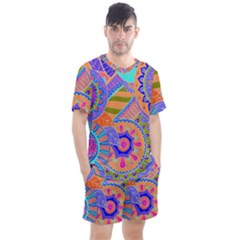 Pop Art Paisley Flowers Ornaments Multicolored 3 Men s Mesh Tee And Shorts Set