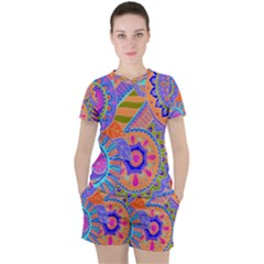 Pop Art Paisley Flowers Ornaments Multicolored 3 Women s Tee And Shorts Set