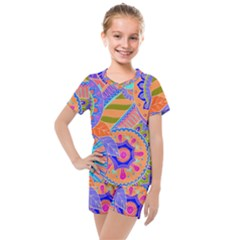 Pop Art Paisley Flowers Ornaments Multicolored 3 Kids  Mesh Tee And Shorts Set