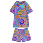 Pop Art Paisley Flowers Ornaments Multicolored 3 Kids  Swim Tee and Shorts Set