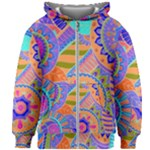 Pop Art Paisley Flowers Ornaments Multicolored 3 Kids Zipper Hoodie Without Drawstring