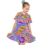 Pop Art Paisley Flowers Ornaments Multicolored 3 Kids  Short Sleeve Shirt Dress