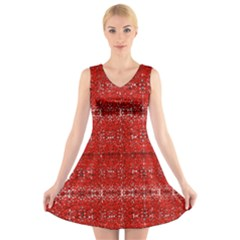 Red Lace Design Created By Flipstylez Designs V Neck Sleeveless Dress