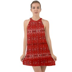 Red Lace Design Created By Flipstylez Designs Halter Tie Back Chiffon Dress