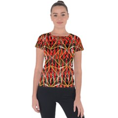 Red Triangles Zig Zags Many Layers Created By Flipstylezdesigns Short Sleeve Sports Top
