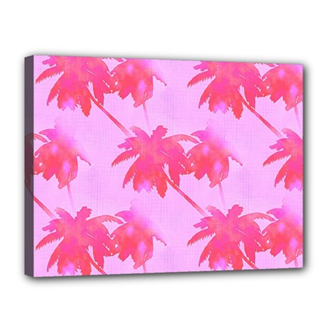 Palm Trees Pink Paradise Canvas 16  X 12