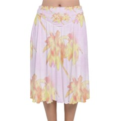 Palm Trees Tropical Summer Heat Velvet Flared Midi Skirt by CrypticFragmentsColors