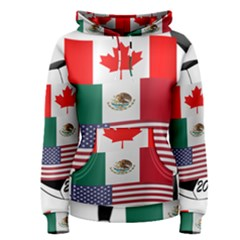 United Football Championship Hosting 2026 Soccer Ball Logo Canada Mexico Usa Women s Pullover Hoodie