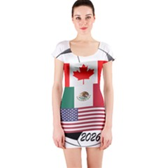 United Football Championship Hosting 2026 Soccer Ball Logo Canada Mexico Usa Short Sleeve Bodycon Dress