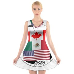 United Football Championship Hosting 2026 Soccer Ball Logo Canada Mexico Usa V Neck Sleeveless Dress