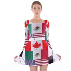 United Football Championship Hosting 2026 Soccer Ball Logo Canada Mexico Usa Long Sleeve Velvet Skater Dress